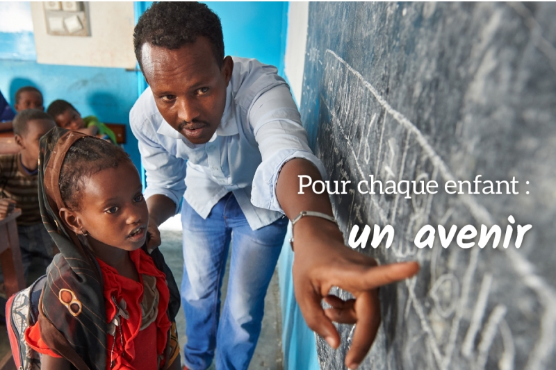 Carte de vœux de l'UNICEF accompagnant le Cadeau de survie Bâtir un avenir