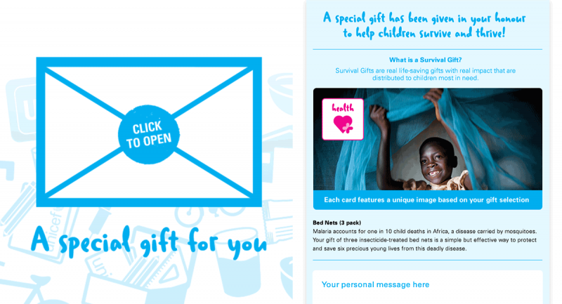 UNICEF Surival Gift Greeting card for Greatest Need