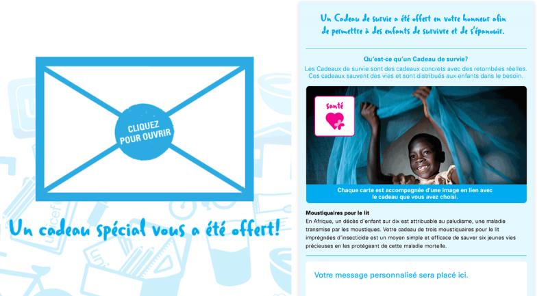 Carte de vœux accompagnant le Cadeau de survie de l'UNICEF Les besoins les plus grands